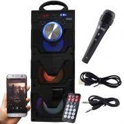 Caixa Som Portátil Bluetooth Mp3 Fm Usb Sd Microfone Bateria 18W Rms Infokit Preta VC-M911BT