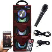 Caixa Som Portátil Bluetooth Mp3 Fm Usb Sd Microfone Bateria 18W Rms Infokit Vermelha VC-M911BT
