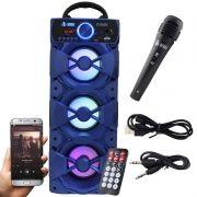 Caixa Som Portátil Bluetooth Mp3 Fm Usb Sd Microfone Bateria 18W Rms Infokit Azul VC-M912BT