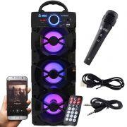 Caixa Som Portátil Bluetooth Mp3 Fm Usb Sd Microfone Bateria 18W Rms Infokit Preta VC-M912BT
