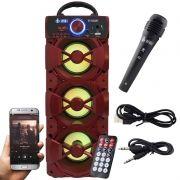 Caixa Som Portátil Bluetooth Mp3 Fm Usb Sd Microfone Bateria 18W Rms Infokit Vermelha VC-M912BT
