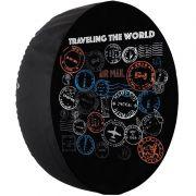 Capa Pneu Roda Estepe Universal com Cadeado Anti Furto Aro 14 à 17 Carrhel 478 Travelling The World
