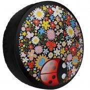 Capa Pneu Roda Estepe Universal com Cadeado Anti Furto Aro 14 à 17 Carrhel 479 Joaninha Flores