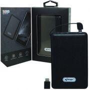 Carregador Portátil Power Bank Bateria 5000 mAh Celular Usb Lanterna Knup KP-PB03 Preto