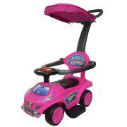 Carrinho Passeio Infantil Criança 4 em 1 Haste Empurrador Capota Quadriciclo Rosa Brinqway BW-060RS
