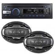 Cd Mp3 Player Automotivo Importway KV-9101 Usb Sd Aux + Par Alto Falante 6x9 200W Rms Quadriaxial