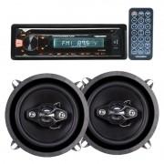 Cd Player Mp3 Automotivo Bluetooth Roadstar Fm Usb Controle + Par Alto Falante 5 Pol 100W Rms