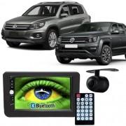 Central Multimídia Mp5 Amarok e Tiguan 09 à 17 D720BT Moldura 2 Din Preta Usb Bluetooth Câmera Ré