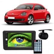 Central Multimídia Mp5 Novo Fusca 2013 à 2016 D720BT Moldura 2 Din Preta Usb Bluetooth Câmera Ré