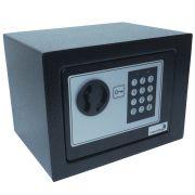 Cofre Digital Eletrônico 23x17x17 Senha Teclado Chave Residêncial Pequeno Importway IWCFS-002 Preto