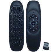 Controle Mini Teclado Air Mouse Wireless Sem Fio 2.4 Ghz Android Pc Tv C120 Preto