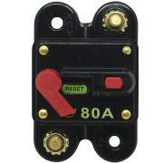 Disjuntor Automotivo 80A Proteção Som Bateria Fusível Resetável Liga Desliga Svart 0758