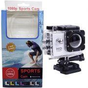 Filmadora HD 1080p Câmera Digital 3MP Esporte Sports Cam Acition Go Prova Dagua Prata Acessórios