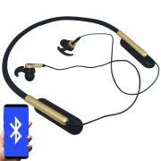 Fone Ouvido Headphone Bluetooth Sem Fio Esporte Flexível Estéreo Vibra Infokit HBT-82 Preto Dourado