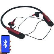Fone Ouvido Headphone Bluetooth Sem Fio Esporte Flexível Estéreo Vibra Infokit HBT-82 Preto Vermelho