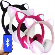 Fone Ouvido Headphone Bluetooth Sem Fio Estéreo Orelha Gato Led Infantil P2 Exbom HF-C240BT
