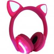 Fone Ouvido Headphone Bluetooth Sem Fio Estéreo Orelha Gato Led Infantil P2 Exbom HF-C240BT Pink