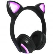 Fone Ouvido Headphone Bluetooth Sem Fio Estéreo Orelha Gato Led Infantil P2 Exbom HF-C240BT Preto
