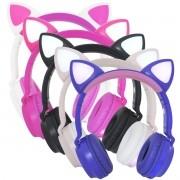 Fone Ouvido Headphone Bluetooth Sem Fio Estéreo Orelha Gato Led Infantil P2 SD Exbom HF-C290BT