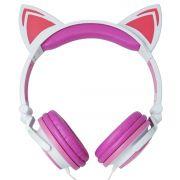 Fone Ouvido Headphone Com Fio Estéreo Orelha Gato Gatinho Led Infantil P2 Exbom HF-C22 Branco Rosa