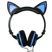 Fone Ouvido Headphone Com Fio Estéreo Orelha Gato Gatinho Led Infantil P2 Exbom HF-C22 Preto Azul