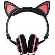 Fone Ouvido Headphone Com Fio Estéreo Orelha Gato Gatinho Led Infantil P2 Exbom HF-C22 Preto Rosa