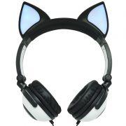 Fone Ouvido Headphone Com Fio Estéreo Orelha Gato Gatinho Led Infantil P2 Exbom HF-C30 Preto