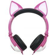 Fone Ouvido Headphone Com Fio Estéreo Orelha Gato Gatinho Led Infantil P2 Exbom HF-C30 Rosa