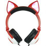 Fone Ouvido Headphone Com Fio Estéreo Orelha Gato Gatinho Led Infantil P2 Exbom HF-C30 Vermelho