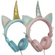 Fone Ouvido Headphone Com Fio Estéreo Unicórnio Glitter Orelha Gato Gatinho Infantil P2 YLFS-U1