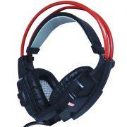 Headset Gamer Fone Ouvido com Microfone Usb P2 Led Pc Jogos Infokit GH-X20 XSoldado Preto Vermelho