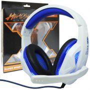 Headset Gamer Fone Ouvido com Microfone Usb P2 Led Pc Ps4 Celular Jogos Knup KP-396 Branco Azul