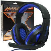 Headset Gamer Fone Ouvido com Microfone Usb P2 Led Pc Ps4 Celular Jogos Knup KP-396 Preto Azul