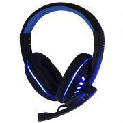 Headset Gamer Ps4 Fone Ouvido com Microfone Usb P2 Led Celular Jogos Exbom HF-G310P4 Preto Azul