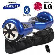 Hoverboard Scooter 2 Rodas Elétrico Bluetooth Azul 6,5 Polegadas Bateria LG ou Samsung com Bolsa