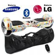 Hoverboard Scooter 2 Rodas Elétrico Bluetooth Branco Colorido 6,5 Polegadas Bateria LG ou Samsung com Bolsa