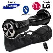 Hoverboard Scooter 2 Rodas Elétrico Bluetooth Preto 6,5 Polegadas Bateria LG ou Samsung com Bolsa