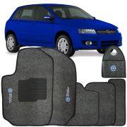 Jogo Tapete Automotivo Carpete + Lixeira Fiat Stilo 2002 à 2007 Soft Logo Bordado Grafite 6 Peças