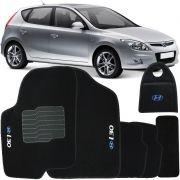 Jogo Tapete Automotivo Carpete + Lixeira Hyundai I30 2010 à 2012 Soft Logo Bordado Preto 6 Peças