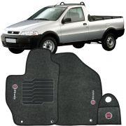 Jogo Tapete Carpete + Lixeira Fiat Strada Cab. Simples 1999 à 2007 Soft Logo Bordado Grafite 3 Peças