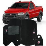 Jogo Tapete Carpete + Lixeira Fiat Strada Cab. Simples 2013 à 2019 Soft Logo Bordado Preto 3 Peças