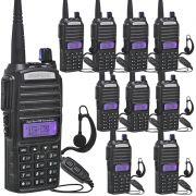 Kit 10 Rádios Comunicador HT Profissional UHF VHF Baofeng BF-UV82 Preto + Fone