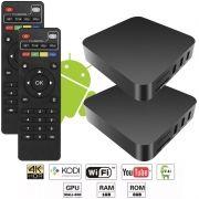 Kit 2 Aparelhos Conversor Smart Box Tv Quad Core 8Gb 4K Android 7.1 3D HD Hdmi Usb Wifi