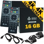 Kit 2 Aparelhos Smart Box Tv 16Gb Android 6.0 Infokit TVB-906X 4K 3D HD Usb Wifi