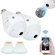 Kit 2 Lâmpadas Câmera Espiã 360° Panorâmica Wifi Ip Led Bivolt B13-L Microfone Alto Falante Embutido
