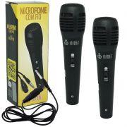 Kit 2 Microfones Dinâmico com Fio P10 1,5 Metros para Karaokê e Caixa de Som Infokit MIC-PF10 Preto