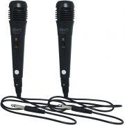 Kit 2 Microfones Dinâmico com Fio P10 Cabo 1 Metro para Karaokê e Caixa de Som Knup KP-M0001 Preto