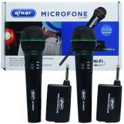 Kit 2 Microfones sem Fio Profissional Wireless P10 para Karaokê e Caixa de Som Knup KP-M0005 Preto