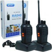 Kit 2 Rádios Comunicador HT Walk Talk UHF 16 Canais Profissional Knup KP-M0008 Preto Bivolt