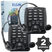Kit 2 Telefones Headset com Base Discadora Teclado Elgin HST 6000 Telemarketing Preto